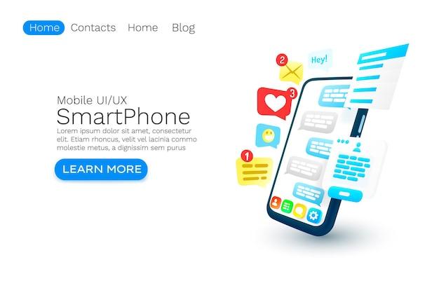 Mobilny e-mail czat internetowy projekt banera strony internetowej wektor