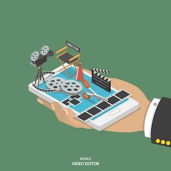 Mobilny edytor wideo izometryczny wektor koncepcja.