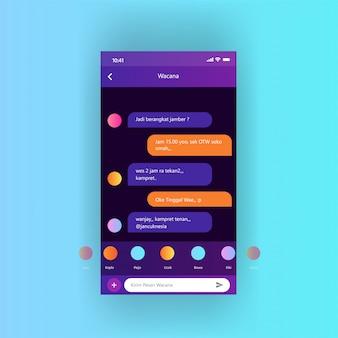 Mobilny ekran aplikacji dashboard rozmowy wektor swobodny