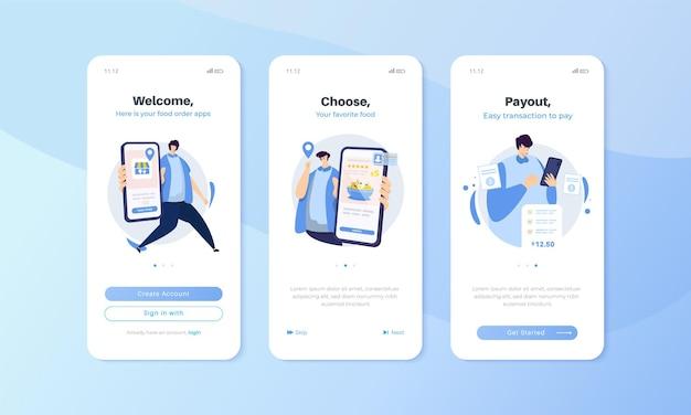 Mobilny ekran pokładowy z zestawem ilustracji aplikacji do zamawiania jedzenia