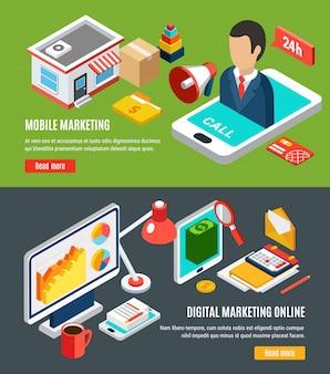 Mobilny i online cyfrowy marketingowy isometric horyzontalni sztandary ustawiający na kolorowy 3d odizolowywającym