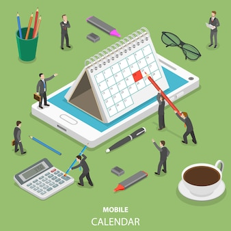 Mobilny kalendarz płaski izometryczny koncepcja.