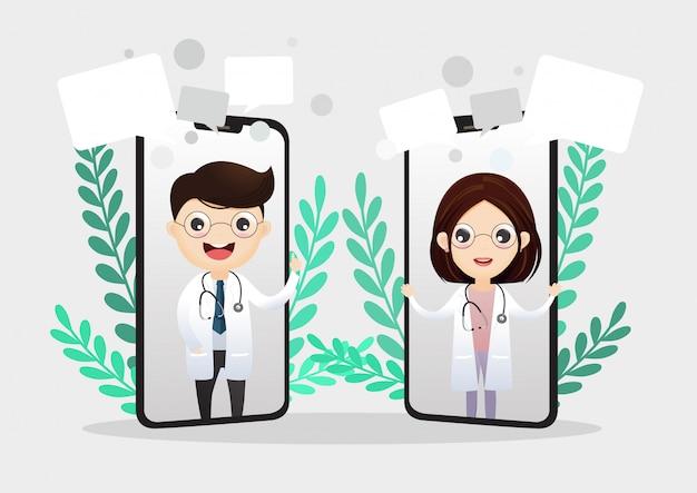 Mobilny lekarz. uśmiechnięty doktor na ekranie telefonu. konsultacja medyczna przez internet. serwis internetowy doradztwa w zakresie opieki zdrowotnej. wsparcie szpitalne online. wektor, ilustracja.