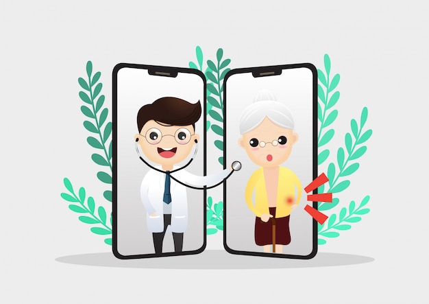 Mobilny lekarz. uśmiechnięty doktor na ekranie telefonu.