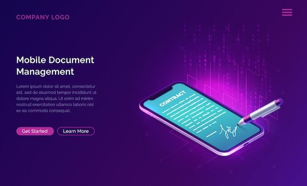 Mobilny menedżer dokumentów lub szablon strony internetowej z podpisem elektronicznym