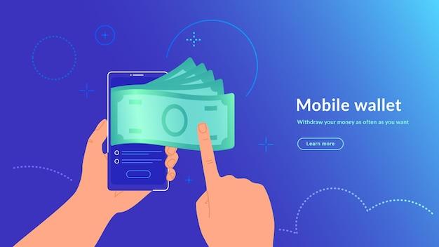 Mobilny portfel i wypłata pieniędzy bezprzewodowo i łatwo. jasna ilustracja wektorowa ludzkiej dłoni trzyma smartfon i pobiera gotówkę z e-portfela jego konta bankowego