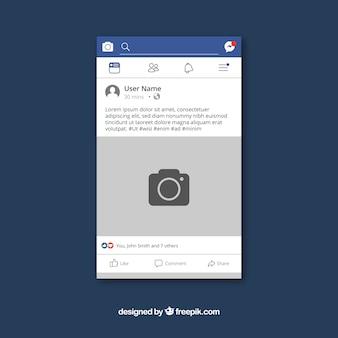 Mobilny post na facebooku o płaskiej konstrukcji
