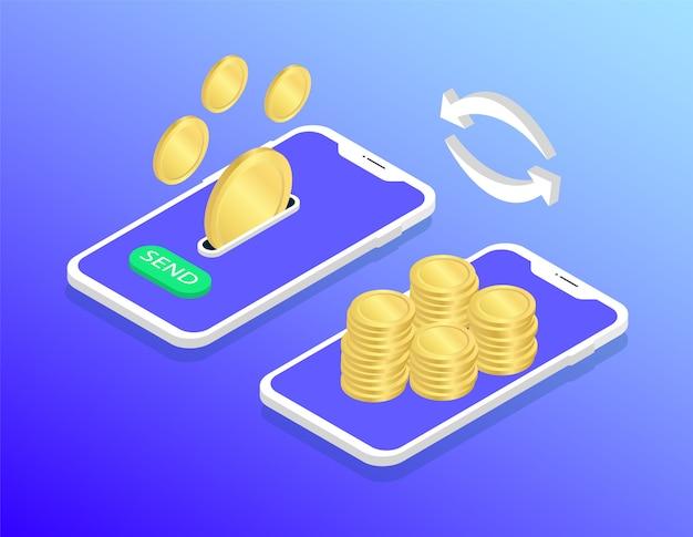 Mobilny przelew pieniędzy. pieniądze z transakcji.