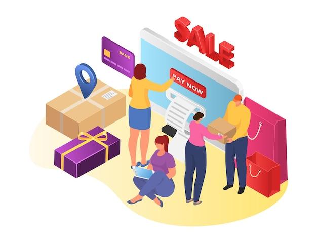 Mobilny sklep internetowy, izometryczny ilustracji wektorowych. mężczyzna kobieta ludzie znaków używać tabletu na zakupy internetowe, płatności internetowych przez telefon. kurier nada przesyłkę klientowi, projekt e-commerce.