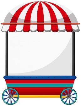 Mobilny sklep z czerwonym dachem