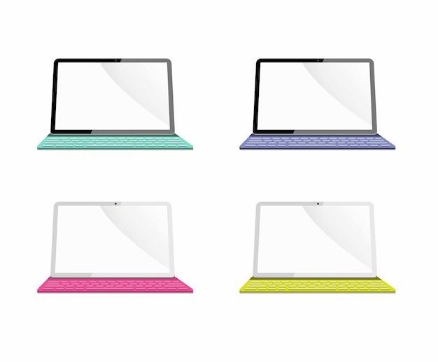 Mobilny tablet czarno-biały z realistyczną ilustracją klawiatury wariacji kolorów