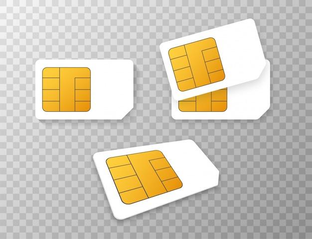 Mobilny telefon komórkowy sim karty chipa na białym tle na tle