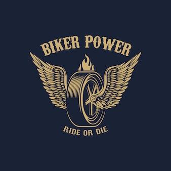 Moc rowerzysty. skrzydlate koło w złotym stylu. element na logo, etykietę, godło, znak. wizerunek