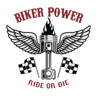 Moc rowerzysty. tłok ze skrzydłami na jasnym tle. element logo, etykieta, godło, znak, znaczek ,, koszulka, plakat. ilustracja
