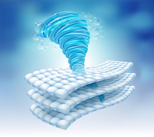 Moc wody obraca się w włóknie tkaniny.