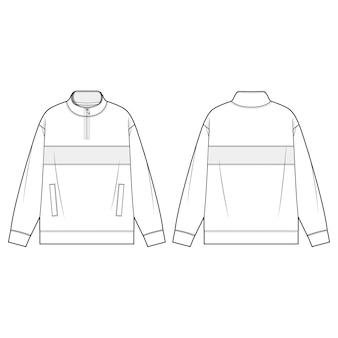 Mock neck half zip anorak moda płaskie szablony