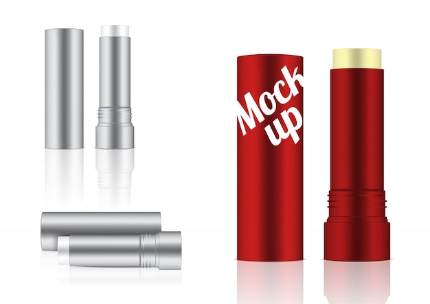 Mock up realistic cosmetic lip balm pencil lub concealer