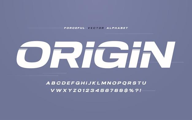 Mocny bezszeryfowy wektor alfabet, czcionka, zestaw liter i cyfr.
