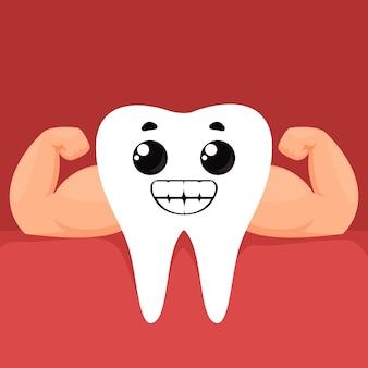 Mocny, zdrowy, śnieżnobiały ząb z muskularnymi ramionami i emocją uśmiechu i szczęścia