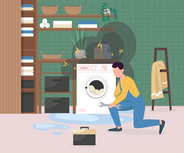 Mocowanie zepsutej pralki na płasko. człowiek naprawiający urządzenie elektryczne.