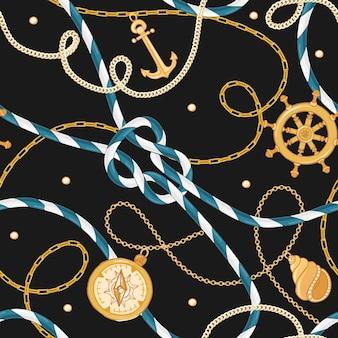 Moda bezszwowe wzór ze złotymi łańcuchami i kotwicą do projektowania tkanin. morskie tło z liny, węzłów, flag i elementów morskich. ilustracja wektorowa