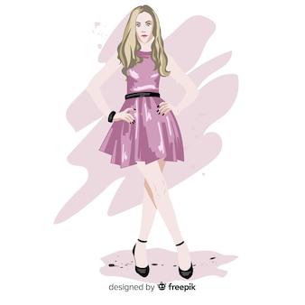 Moda blond kobieta model z różową sukienkę, charakter ilustracja