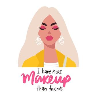 Moda blond kobieta w okularach w płaski modny styl i makijaż cytat. portret dziewczyny, fraza inspirująca.