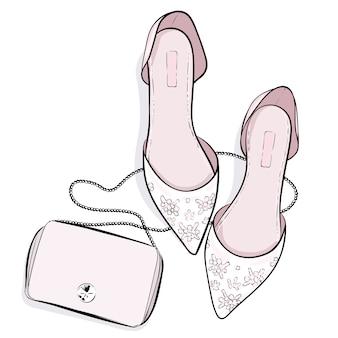 Moda buty i kiesy torby ilustracja
