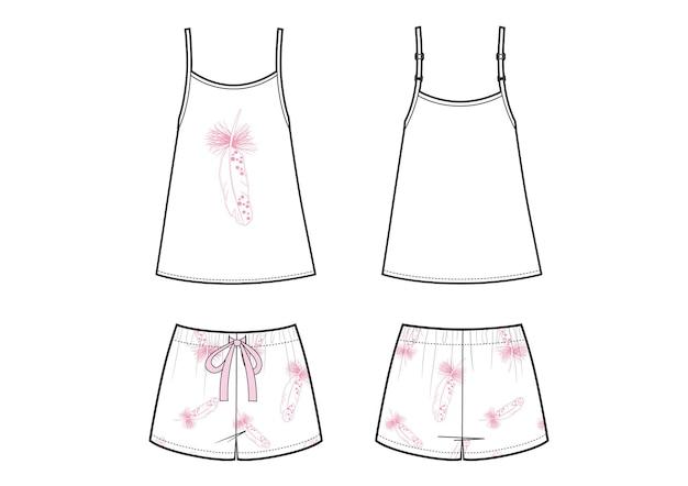 Moda damska piżamy. białe szorty i podkoszulek z nadrukiem strachu.