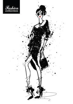 Moda Dziewczyna W Stylu Szkicu. Plakat Retro. Ilustracja Wektorowa. Premium Wektorów