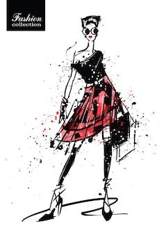 Moda dziewczyna w stylu szkicu. plakat retro. ilustracja.
