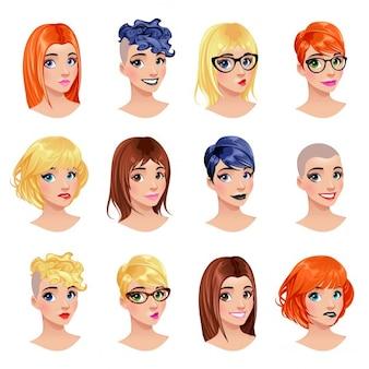 Moda fryzury kobiece avatary oczy i usta są wymienne plik wektorowy pojedyncze obiekty