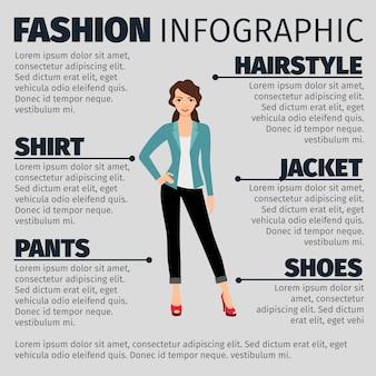 Moda infographic z młodą biznesową dziewczyną