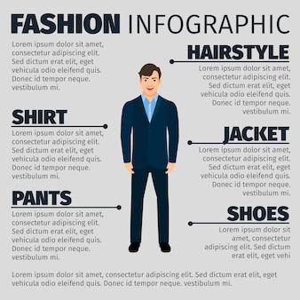 Moda infographic z młodym uśmiechniętym kierownikiem