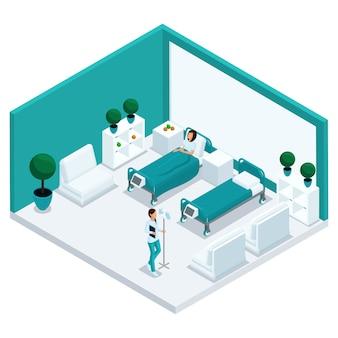 Moda izometryczni ludzie, sala szpitalna, komora jest widokiem z przodu, personel, personel szpitalny, pielęgniarka, pacjent w izolowanym łóżku szpitalnym