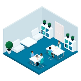 Moda izometryczny ludzi, sala szpitalna, widok z tyłu gabinetu lekarskiego, lekarz przyjmuje pacjentów, chirurga, pacjenta