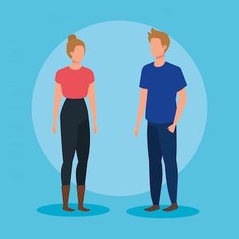 Moda kobieta i mężczyzna w fryzurę i ubranie