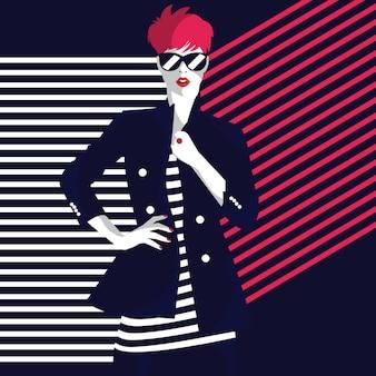 Moda kobieta w stylu pop-art. stylowa ilustracja