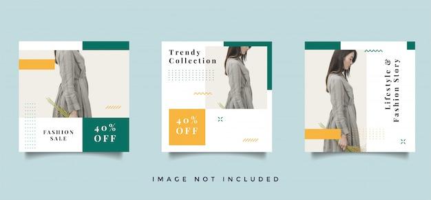 Moda kolekcja promocyjna postów w mediach społecznościowych
