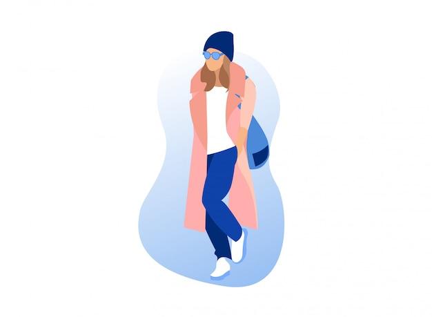 Moda miejska, ubranie, stylowa kobieta w różowym płaszczu