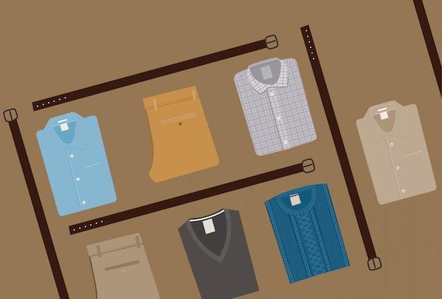 Moda na ubrania. koncepcja odzieży męskiej. odzież męska w stylu płaskim