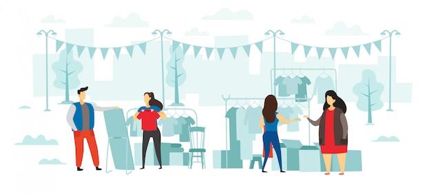 Moda pchli targ. ludzie kupują i sprzedają ubrania, imprezę na świeżym powietrzu i targi odzieży płaskiej ilustracji