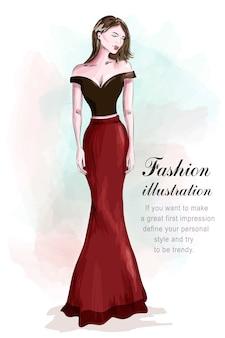 Moda Piękna Kobieta W Romantycznej Sukni Wieczorowej. Premium Wektorów