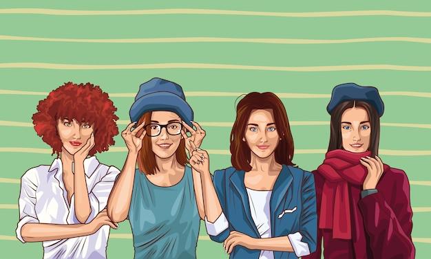 Moda pop-art i kreskówka piękne kobiety