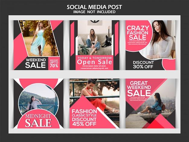 Moda post szablon mediów społecznościowych