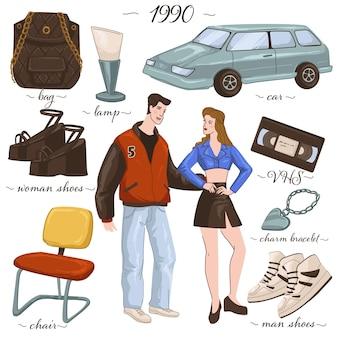 Moda retro i ubrania z lat 90., chłopiec i dziewczynka w stylowych strojach. zabytkowy samochód, torba i buty, nowoczesne minimalistyczne krzesło i lampa, kaseta i łańcuszek, trampki i buty. wektor w stylu płaskiej