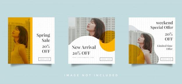 Moda social media feed post promocja projektu wektor zbiory