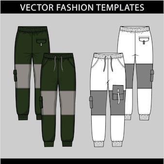 Moda spodnie. płaskie szablony wektorowe, spodnie cargo, przód i tył
