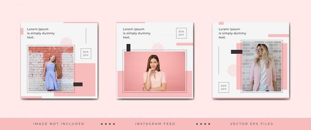Moda społecznościowa szablon postu lub kolekcja kwadratowych banerów