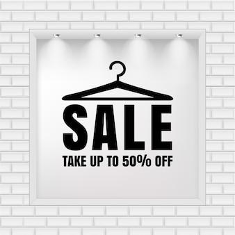 Moda sprzedaż banner ze światłem na białym murem